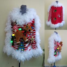 A vision in White Fluff Hysterical Rudolph Reindeer Tacky Ugly Christmas Sweater, XL, Fluffy White Boa Trim, Candy Cane Striped Sweater WOW by tackyuglychristmas on Etsy Tacky Christmas, Ugly Christmas Sweater, Christmas Ornaments, Rummage Sale, Rudolph The Red, Red Nosed Reindeer, Ugly Sweater, Candy Cane, Being Ugly