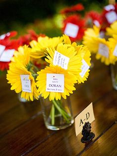 This bride put each guests name on a daisy as a creative way to show guests to their seats. See more pictures from this Tuscan-inspired wedding. Reception Seating Chart, Wedding Reception Seating, Seating Chart Wedding, Reception Ideas, Unique Weddings, Real Weddings, Seating Cards, Wedding Desserts, Decoration