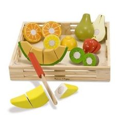 We had a set kinda like this in kindergarten.  And it's a wooden, no lights or noise toy!  Practice cutting fruit, kids!