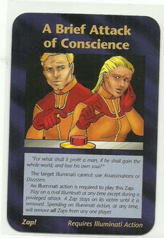 A Brief Attack of Conscience Illuminati CCG Assassins Plot Card INWO. Illuminati: New World Order (INWO) is a collectible card game (CCG) that was released in 1995[1] by Steve Jackson Games, based on their original boxed game Illuminati, which in turn was inspired by The Illuminatus! Trilogy. INWO won the Origins Award for Best Card Game in 1997.