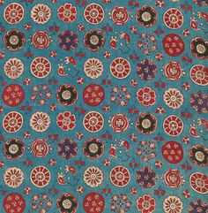 Sarasa with Small Rosettes Date: century Culture: India (Coromandel Coast), for the Japanese market Medium: Cotton (painted resist and mordant, dyed) Dimensions: Overall: 86 x 13 in. x cm) Classification: Textiles Textile Patterns, Textile Prints, Textile Design, Fabric Design, Pattern Design, Print Patterns, Pattern Ideas, Design Design, Indian Textiles