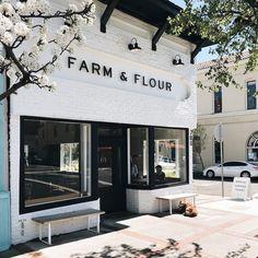 "FARM & FLOUR on Instagram: ""Mornings in Benicia"" Black Exterior, Exterior Design, Interior And Exterior, Cafe Interior Design, Interior Design Services, Retail Store Design, Retail Shop, Yoga Studio Design, New Farm"