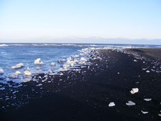 Black sand beach, near the Ice Lagoon (Jokulsarlon), Iceland Sand Beach, Black Sand, Heaven, Ice, Mountains, Places, Nature, Sky, Naturaleza
