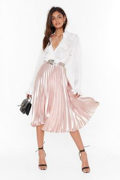 Let's Get Moving Pleated Midi Skirt Satin Pleated Skirt, Pleated Skirt Outfit, Blouse And Skirt, Skirt Outfits, Dress Skirt, Corset Dresses, Satin Dresses, Prom Dresses, Classy Outfits