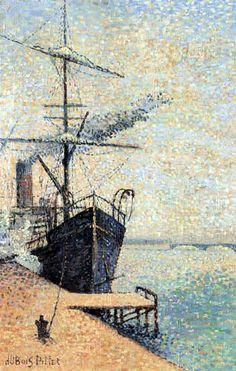 Ankerplaats - Pointillism - Albert Dubois-Pillet (French: 1846- 1890)