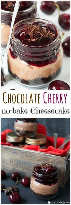 This quick and easy black CHERRY CHOCOLATE CHEESECAKE is the ultimate in indulgent desserts. A NO-BAKE pudding that can be made ahead. What's not to love?