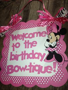 Minnie Mouse birthday door sign pink polka dots with personalized message. $11.00, via Etsy.