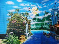 Neverland - Mural Idea in Phoenix AZ Peter Pan Bedroom, Peter Pan Nursery, Castle Mural, Disney Mural, Disney Bedrooms, Loft Bedrooms, Kids Bedroom, Neverland Nursery, School Murals