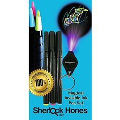 Invisible Pens & UV Light - Awesome Magical Disappearing Inks Set - 3 Pack of Colorful Fluorescent Invisible Ink Marker Pens & Ultra Violet (UV) Black Light on Keychain - Kids LOVE Secret Message Writing - Discreetly Mark Wedding Invitations RSVP's - Marking Your Identity on Valuables & More. Make an Ordinary Day Extraordinary with the Invisible Disappearing Inks, Today! Comes with 100% Money Back Guarantee by Sherlock Hones SH® Sherlock Hones