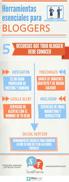 Herramientas esenciales para bloggers #infografia #infographic #socialmedia