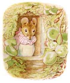 "'The Tale of Mrs Tittlemouse', 1910 -- by Beatrix Potter. ""Once upon a time there was a wood-mouse, and her name was Mrs. Tittlemouse."" The tale is about housekeeping and insect pests in the home, and reflects Potter's own sense of tidiness and abhorrence of insect infestations. The character of Mrs. Tittlemouse debuted in 1909 in a small but crucial role in 'The Tale of The Flopsy Bunnies', and Potter decided to give her a tale of her own."