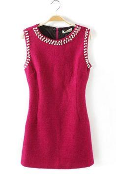 Embellished Magenta Dress