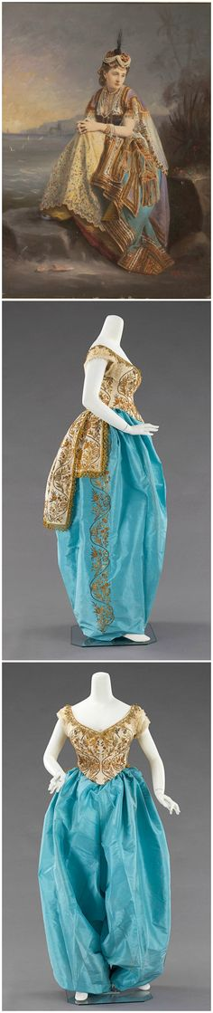 Fancy dress costume, Charles Frederick Worth, c. 1870. Metropolitan Museum of Art. Empress Eugénie of France, dressed as an odalisque, photograph by Pierre-Louis Pierson, painted and retouched by Marck, 1861-65. Albumen silver print. Metropolitan Museum of Art. According to author Alison McQueen, the image depicts the empress as a Turkish bride posed on the banks of the Bosporus (see Empress Eugénie and the Arts: Politics and Visual Culture in the Nineteenth Century, pg. 134).