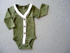 Baby Cardigan Onesie - Green Solid Preppy Baby Boy Sweater
