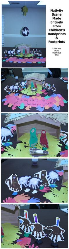 nativity scene made entirely from our children's hand & footprints. It was the christmast decoration at our table for our MOPS Christmas luncheon - turned out really cute!
