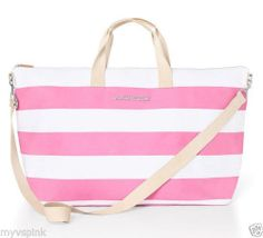 VICTORIA'S SECRET PINK & WHITE STRIPE GETAWAY WEEKENDER TOTE BAG $99 http://stores.ebay.com/VSPINK-STORE