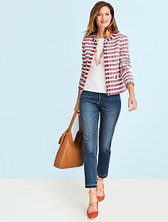 Fringed-Edge Tweed Jacket-Stripes - Talbots Source by prissypetunia outfits Fashion Over 40, Work Fashion, Fashion Outfits, Japan Fashion, India Fashion, Street Fashion, Fashion Ideas, Look Blazer, Boucle Jacket