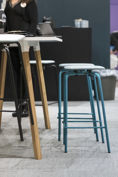 The Grip NxT stools and the Alku table with wooden legs. Wooden Leg, Bar Stools, Legs, Chair, Interior, Table, Furniture, Home Decor, Bar Stool Sports