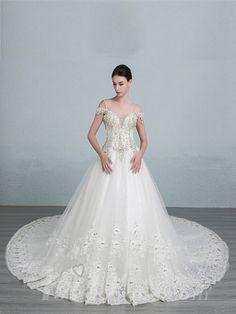 Straps Beaded Bodice A-line Wedding Dress