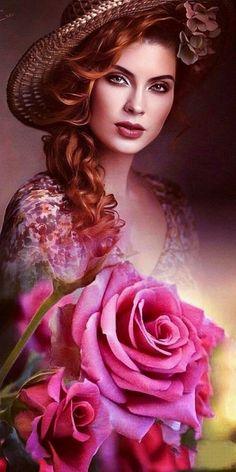 Beautiful Lips, Beautiful Girl Image, Simply Beautiful, Beautiful Images, Beautiful Women, Floral Hair, Woman Painting, Female Art, Pretty In Pink