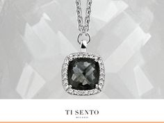 The contrast between the black cushion shaped crystal and the pave set zirconia's around it, radiates true style and gives an elegant modern twist to this classic design. #tisento