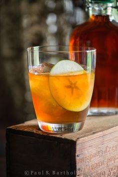 Calvados & Maple Syrup:  1½ oz calvados   1 oz. maple syrup (grade A)  ½ oz. fresh lemon juice  ice cubes  green apple slices