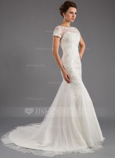 Trumpet/Mermaid Scoop Neck Court Train Tulle Wedding Dress With Lace Sequins (002035871) - JJsHouse
