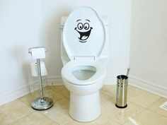 Smiley Face Toilet Decal Wall Mural Art Decor Funny Bathroom Sticker Gift