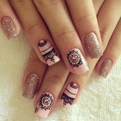May Nails, Hair And Nails, Cute Nails, Pretty Nails, Henna Nails, Mandala Nails, Diva Nails, Nail Decorations, Gold Nails