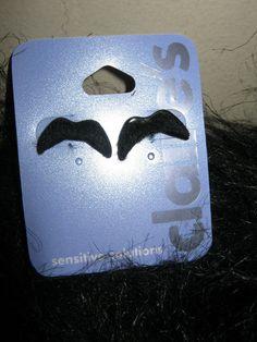 fuzzy black handlebar mustache earrings fashion jewelry fun pop culture stud