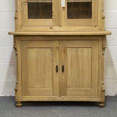 Large Partly Glazed Antique Pine Dresser (F6105D) Antique Pine Furniture, Pine Dresser, China Cabinet, Warehouse, Shelves, Antiques, Wood, Home Decor, Shelving