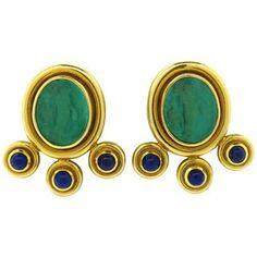 Elizabeth Locke Intaglio 18k Gold Lapis Earrings