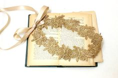 Gold Flower Metallic Lace with Champagne Satin by lovelikestyle, $25.00