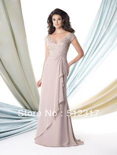 manga curta andar- comprimento mãe da noiva vestidos US $138.00