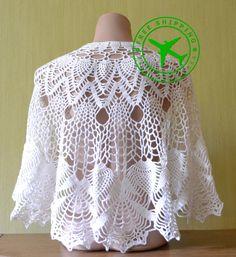 Crochet shawl. White crochet shawl. Wool shawl. Merino shawl. Wrap shawl. Women's lacy shawl. Soft shawl. Handmade shawl.Semicircular shawl - pinned by pin4etsy.com