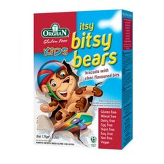 Orgran, Gluten Free Kids Itsy Bitsy Bears, Biscuits with Choc Flavored Bits Gluten Free Recipes, Gourmet Recipes, Childrens Meals, Dairy Free Eggs, Bread Mix, Gluten Free Chocolate, Free Baby Stuff, Nut Free, Free Food