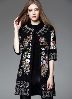 Cotton & Cotton Blend Black Red Long Half Sleeve Collarless Coats & Jackets