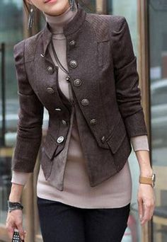 cool Stylish Double Breast Solid Color Jacket Coat   Casual/Military Fashion Women Streetstyle