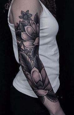 Black & Gray Flowers Sleeve Tattoo