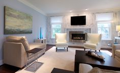 Modern family room with faux finish by Creative Elegance Interiors.