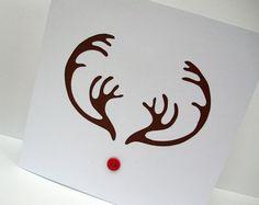 Christmas Card  Hand Cut Reindeer Antlers Card  door Nikelcards, £3.50