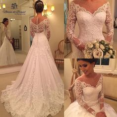 Sexy See Through Long Sleeve Lace Wedding Dresses Cheap A Line Bridal Gowns, Wedding Dresses With Straps, Cheap Wedding Dress, Bridal Dresses, Wedding Gowns, Lace Wedding, Prom Dresses, Boho Vintage, The Dress