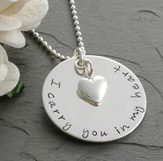 In remembrance - Memorial necklace - I carry you in my heart - Remembrance Jewelry - Sympathy on Etsy, $40.00