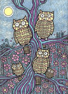 lovely abstract owls