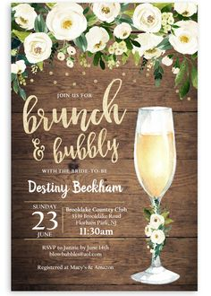 Rustic brunch and bubbly shower invitation, rustic bridal invite, country bridal shower invitation, bridal brunch invitation rustic wood bridal shower invitation Bridal Shower Invitation Wording, Invite, Bridal Party Invitations, Purple Invitations, Brunch Invitations, Invitation Ideas, Winter Bridal Showers, Outdoor Bridal Showers, Beach Bridal Showers