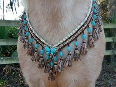 Turquoise Butterfly Tassel Breast Collar - Tasseled Horse Costume - Equine Necklace, Equine Costume, Arabian