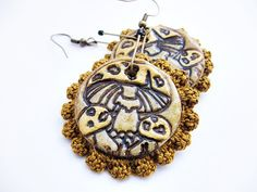 Items similar to mushroom earrings with crochet / polymer clay jewelry / two sided earrings on Etsy Polymer Clay Jewelry, Stuffed Mushrooms, Christmas Ornaments, Trending Outfits, Holiday Decor, Crochet, Unique Jewelry, Handmade Gifts, Earrings