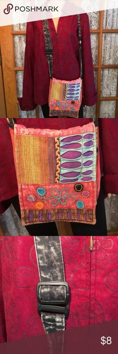 "Nepal Colorful Crossbody Bag 9"" x 9 1/2"". Handle is 29"" and is adjustable. No flaws on the outside. The inside is pilling and some of the black fabric is thin. Still a perfect size bag for your phone, makeup etc. Non smoking home Nepal Bags Crossbody Bags"