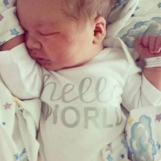 New Baby Iron on decals Hello World by vinylexpress on Etsy
