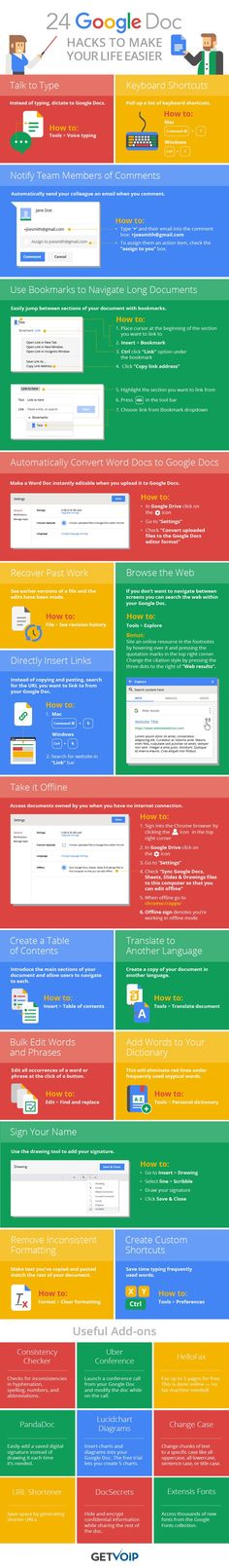 24 Google Doc Hacks to Make Running Your #Business Easier #Infographic